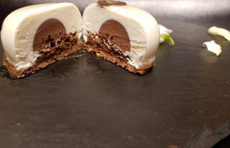 עוגת גבינה מוס מסקרפונה בציפוי שוקולד לבן