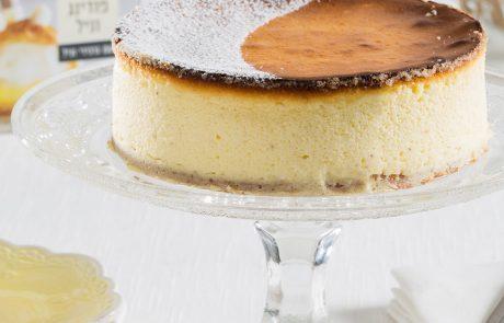 עוגת גבינה אפויה של אסטלה עם פודינג וניל עם גרגירי וניל
