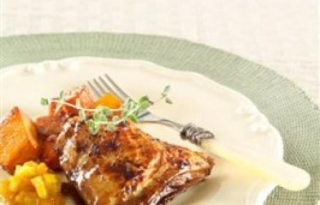 ירקות כתומים ושוקי עוף אפויים בניחוח קינמון