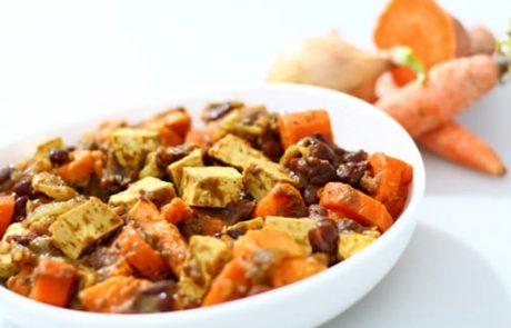 נזיד של אזוקי עם ירקות כתומים וטופו