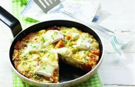 מתכון לשבועות: פשטידת תפוחי אדמה, בטטות וגבינות במחבת